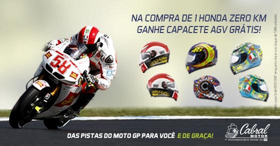 Dezembro com promoção imbatível na Cabral Motor Honda: Moto zero km na garagem e Capacete AGV Grátis!