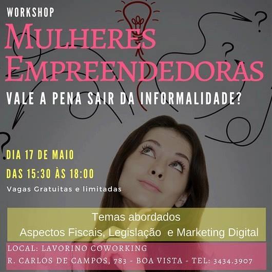 Lavorino Coworking promove workshop gratuito para Mulheres Empreendedoras no dia 17 de maio em Curitiba
